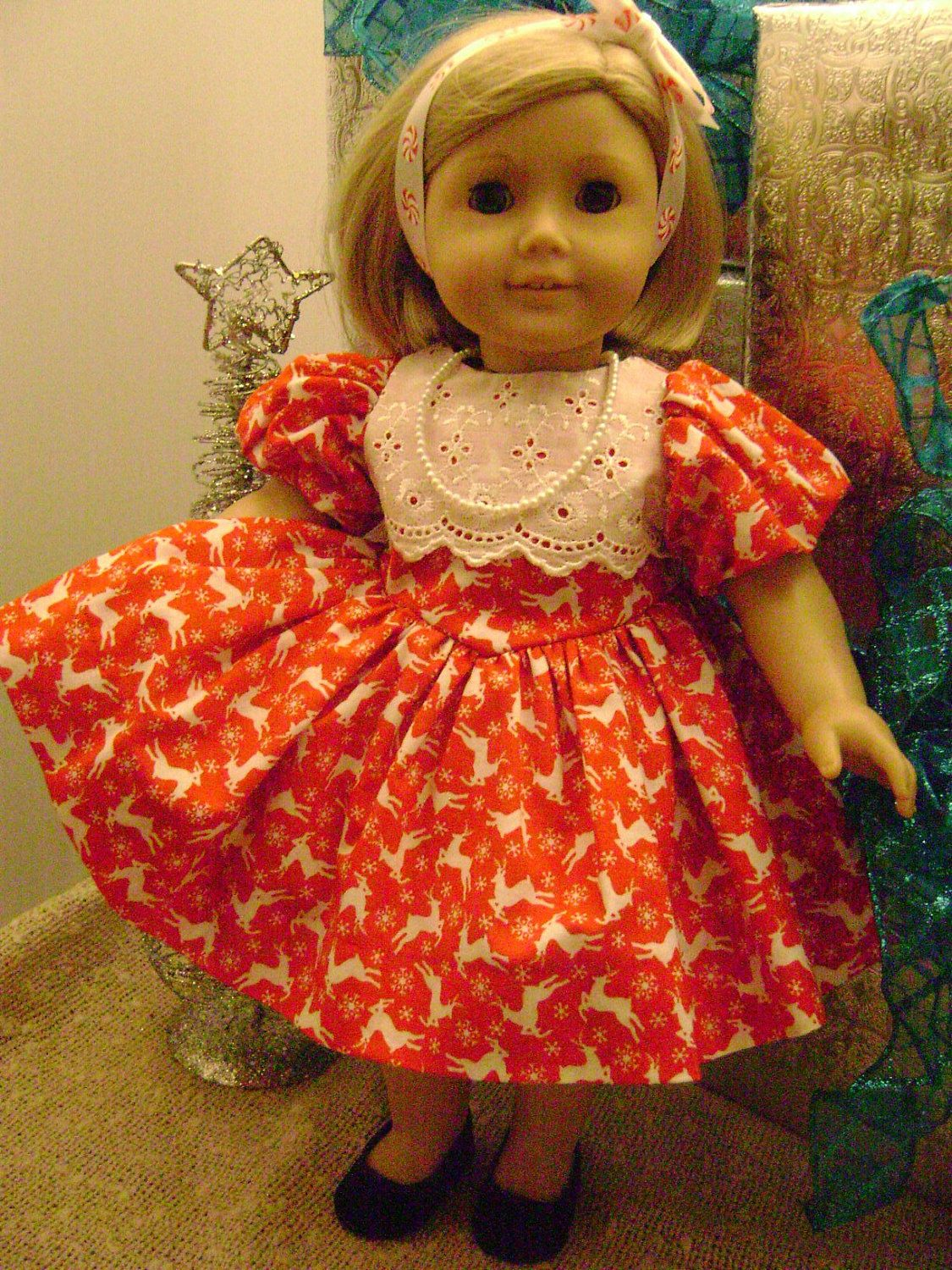 18 inch Doll Apparel Rudolph Dress for Your Favorite American Girl Doll. $24.99, via Etsy.