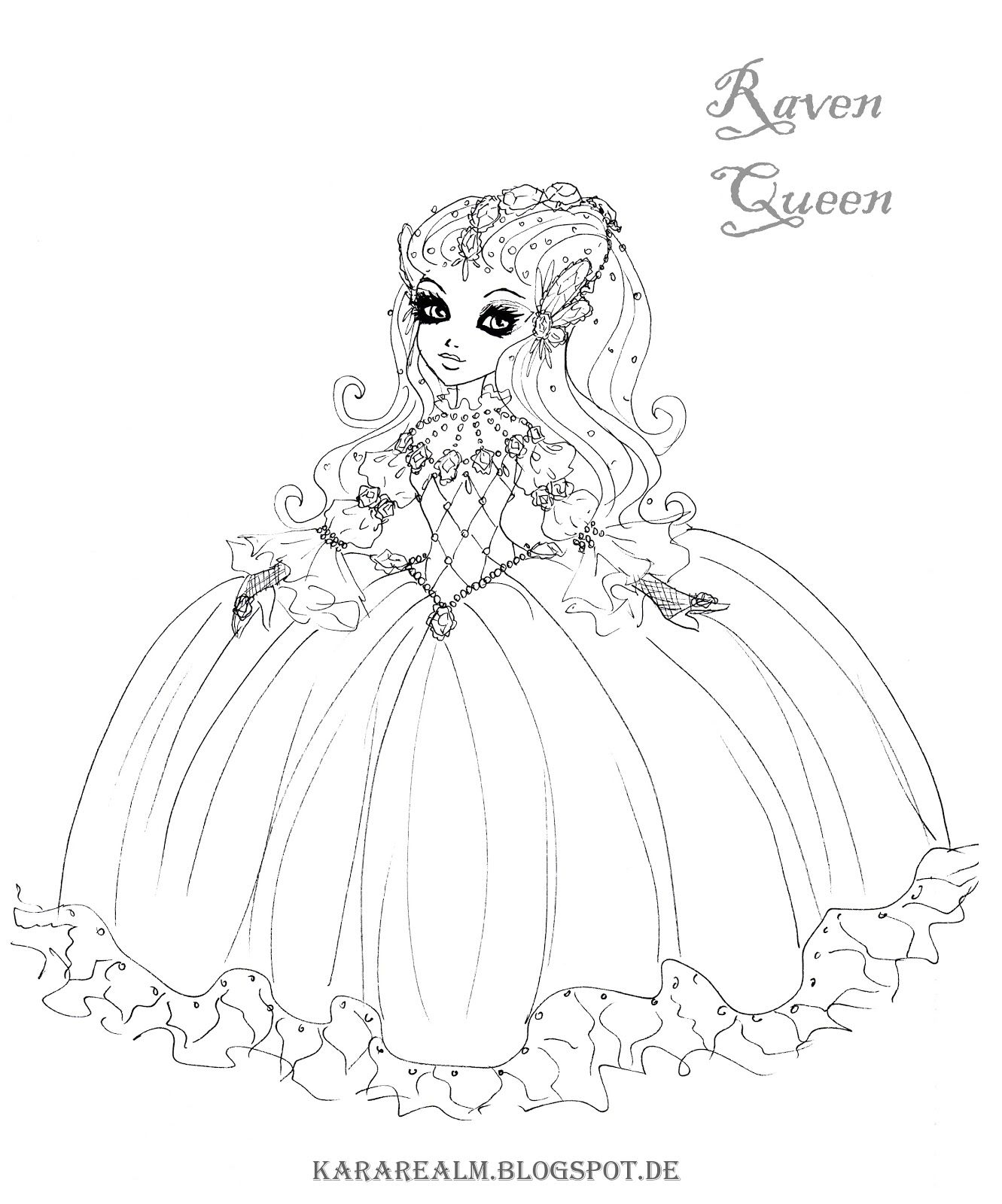 kara realm ever after high coloring pages raven queen