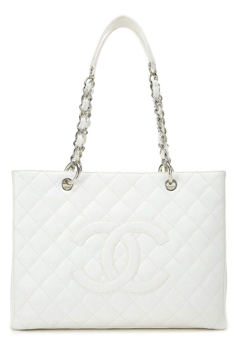 CHANEL White Quilted Caviar Grand Shopping Tote (GST) (Pre-Owned) in ... 188d1cb97b08e