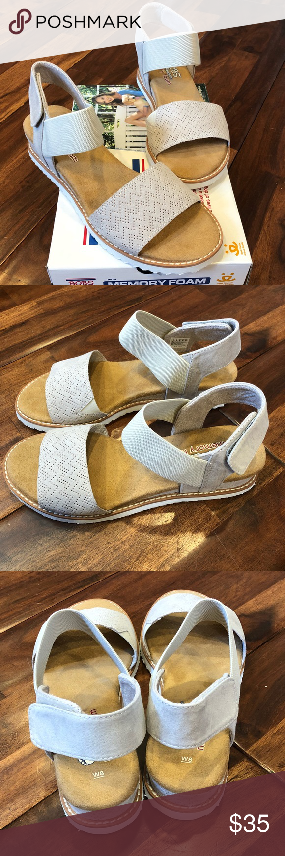 a96c2554ffa0 Skechers Bobs Off-White Sandals BOBS for Skechers sandals in Desert Kiss.  Velcro back make it easy to adjust size for comfortable fit.