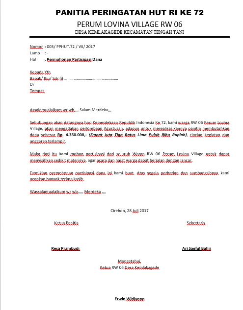 Contoh Surat Rasmi Permohonan Bantuan