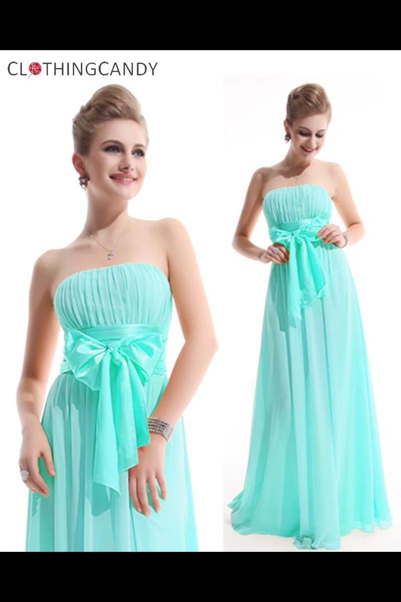 Light Blue Tube Long Ribbon Prom Dress Shop online for maxi ...