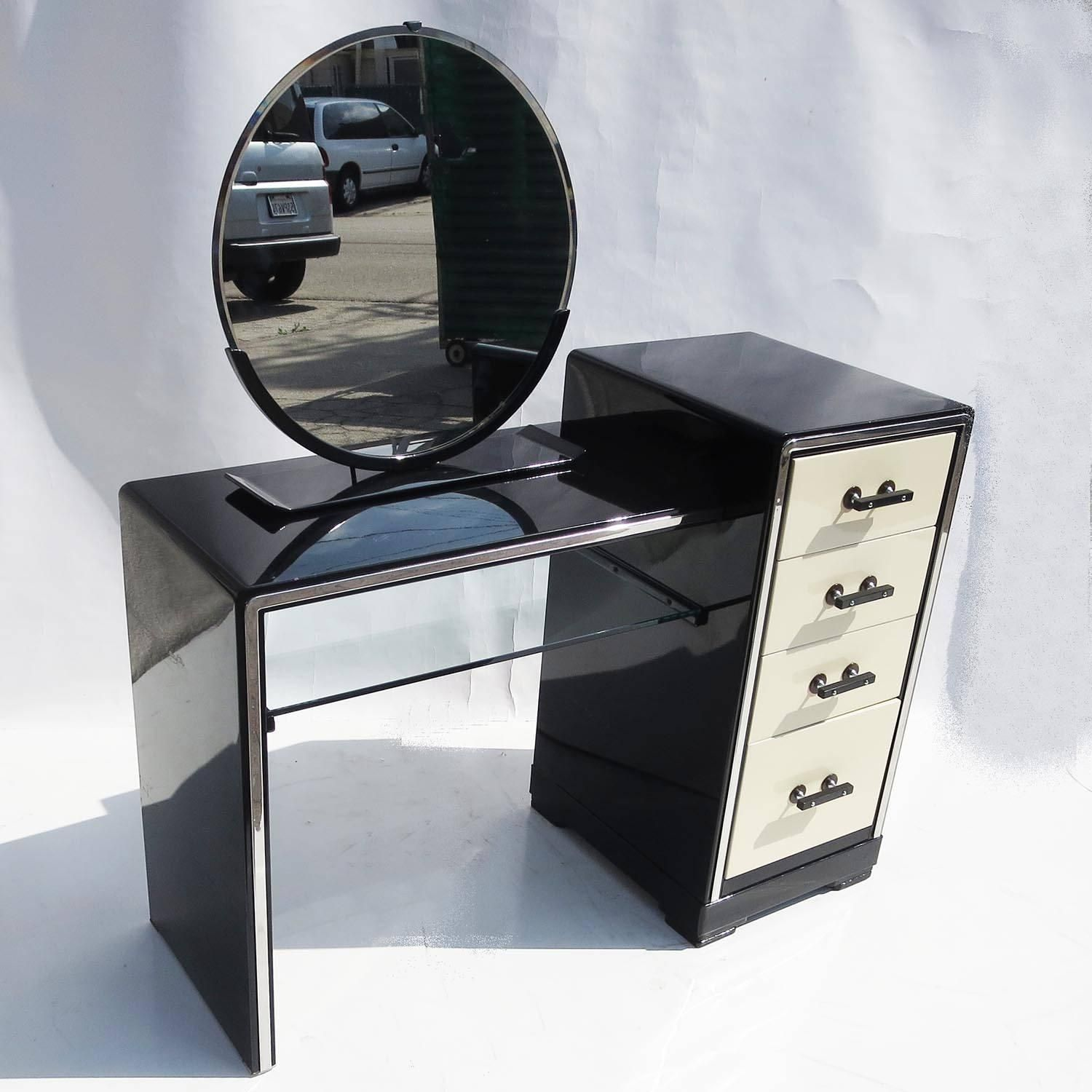 Norman Bel Geddes Art Deco Vanity Dressing Table, Seat And Mirror For  Simmons