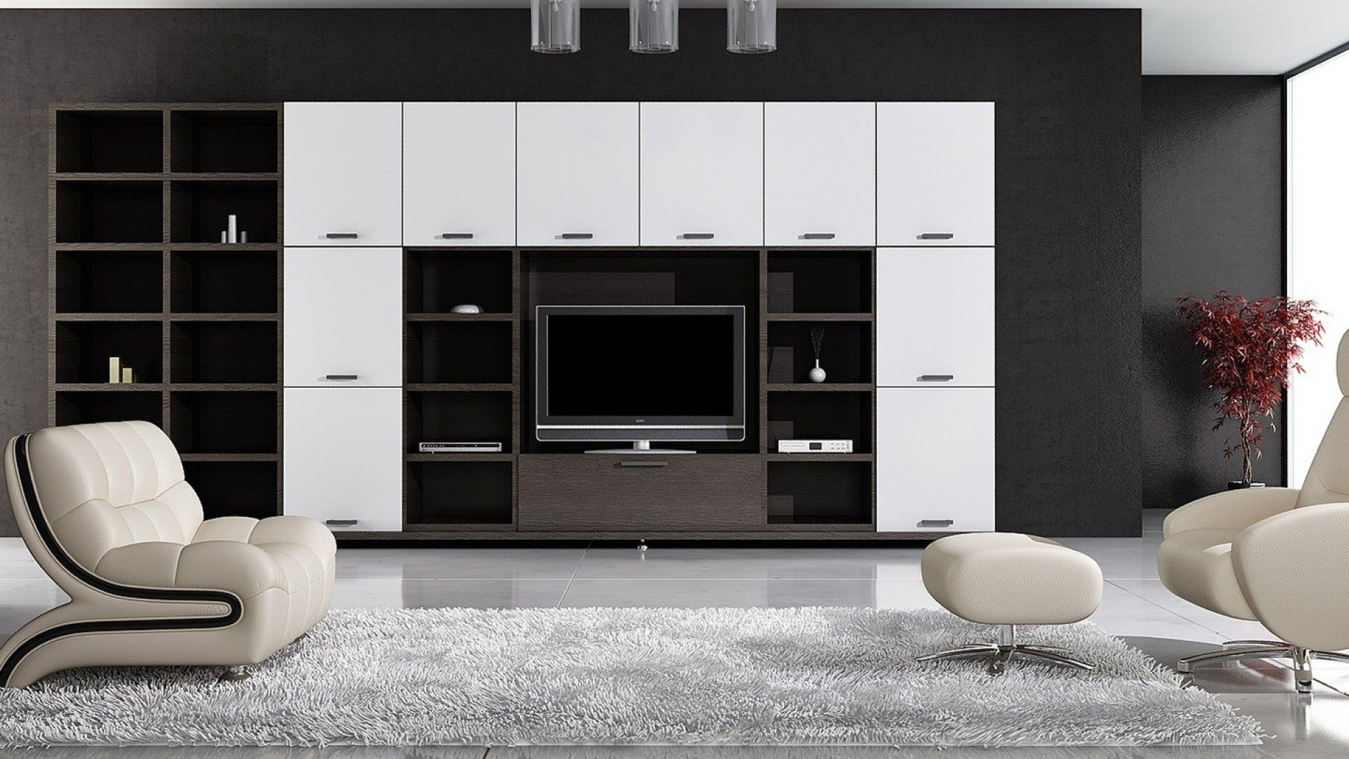 Reminder to consider the balance of the main wall - with black/white shelves and black TV the wall can become too dark or heavy easily