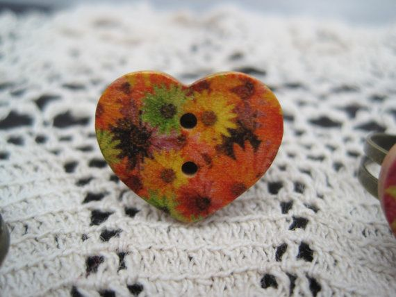 Bright Flowers Wooden Heart Ring by vertilineinlove on Etsy, £5.00