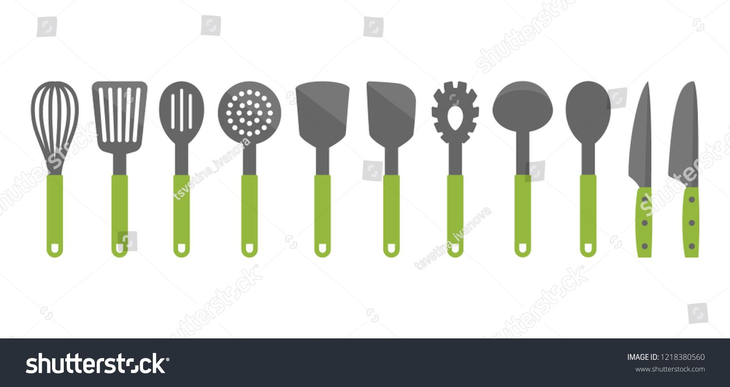 Colorful Cooking Utensil Set Of Tools Kitchen Tools Vector