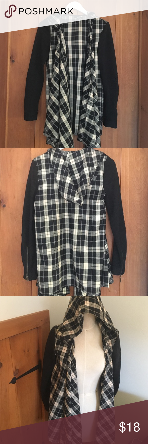 Flannel dropped cardigan This is a flannel cardigan with hood. Sleeves are black. This does run true to size, arms are fitted while flannel part drapes. Sleeves at end just have a little pill from wearing. Very J Sweaters Cardigans