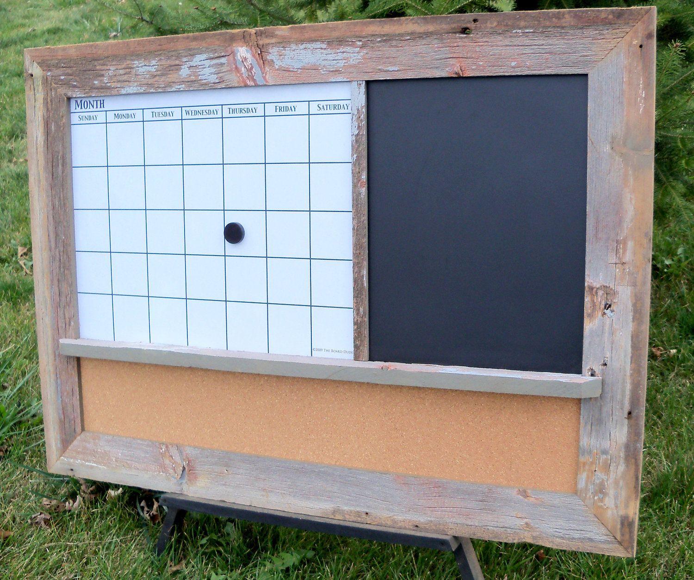 Barnwood Framed Message Center With Magnetic Dry Erase