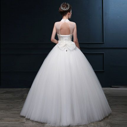 Imi LI Ya new winter wedding dress beaded lace collar Slim Sexy deep V bride tutu 14118