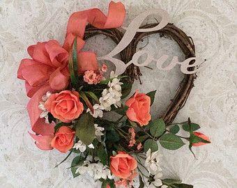 Heart Wreath, Wedding Wreath Decor, Roses, Love,Heart Decor,Grapevine Heart Shaped Wreath,Heart Decoration,Valentine's Wreath,Spring, Summer