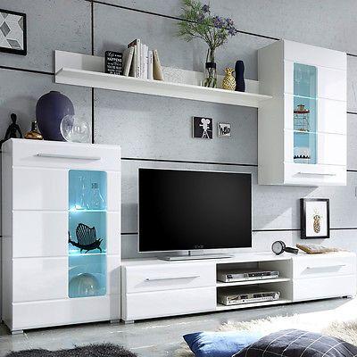 Ebay Angebot Wohnwand Enrique 1 Wohnzimmer Anbauwand Front Weiss