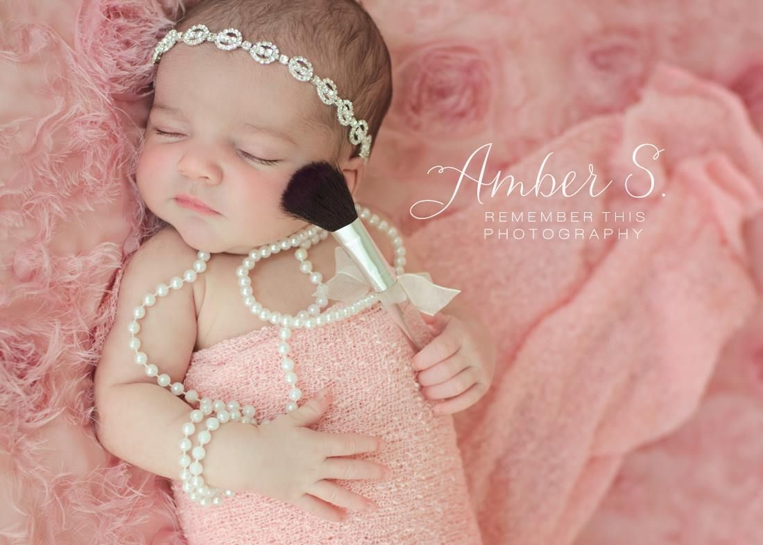 Girly newborn girl photography ideas makeup diamonds and pearls www facebook com rthisphotography