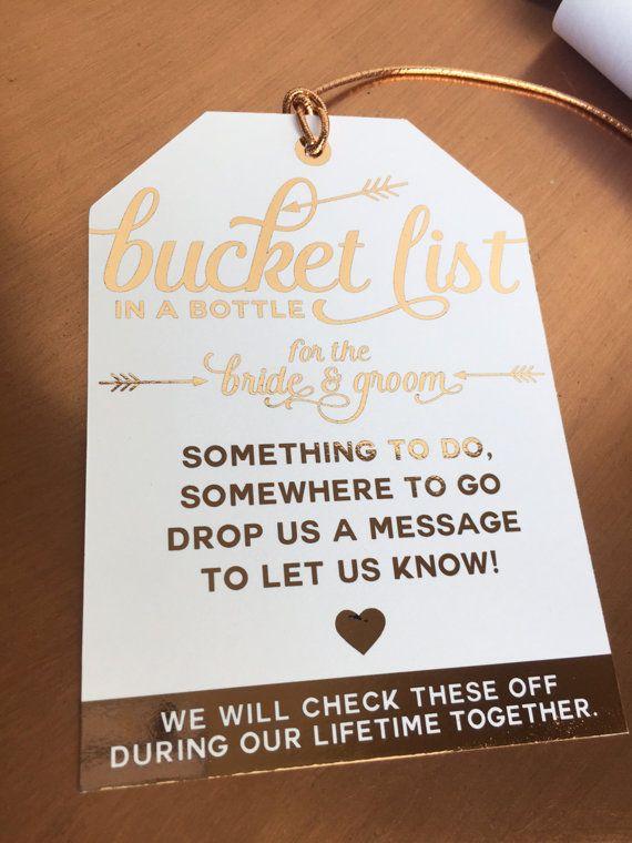 new idea bucket list in a bottle tag a unique alternative to a guest book pinterest mon. Black Bedroom Furniture Sets. Home Design Ideas