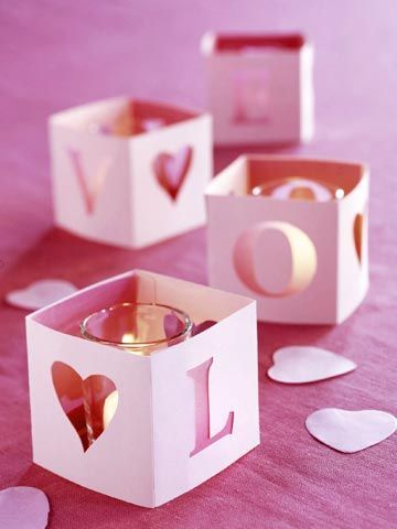 Love Candles - score and fold pink cardstock then stencil the letters of LOVE on each side using a heart as the 0. Use box cutter to cut out letters then tape together and place around a votive!