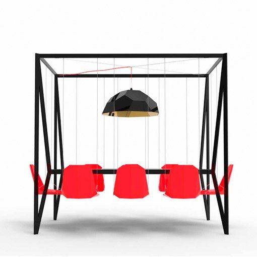 mesa de reunion con sillas colgantes
