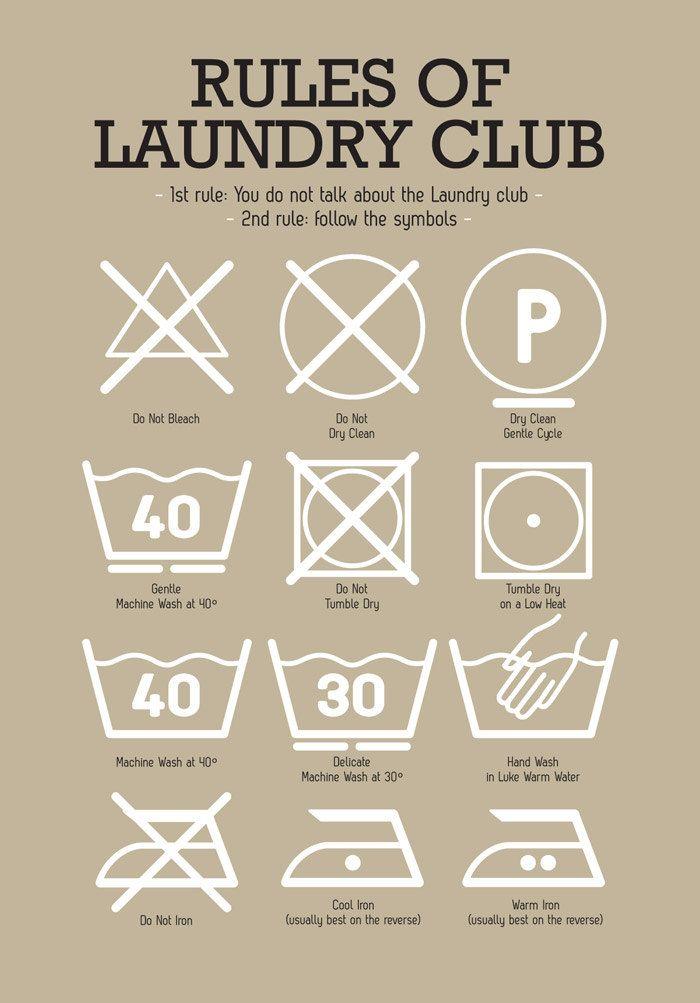 Poster Kitchen Laundry Club Art Laundry Symbols Mid Century Vintage