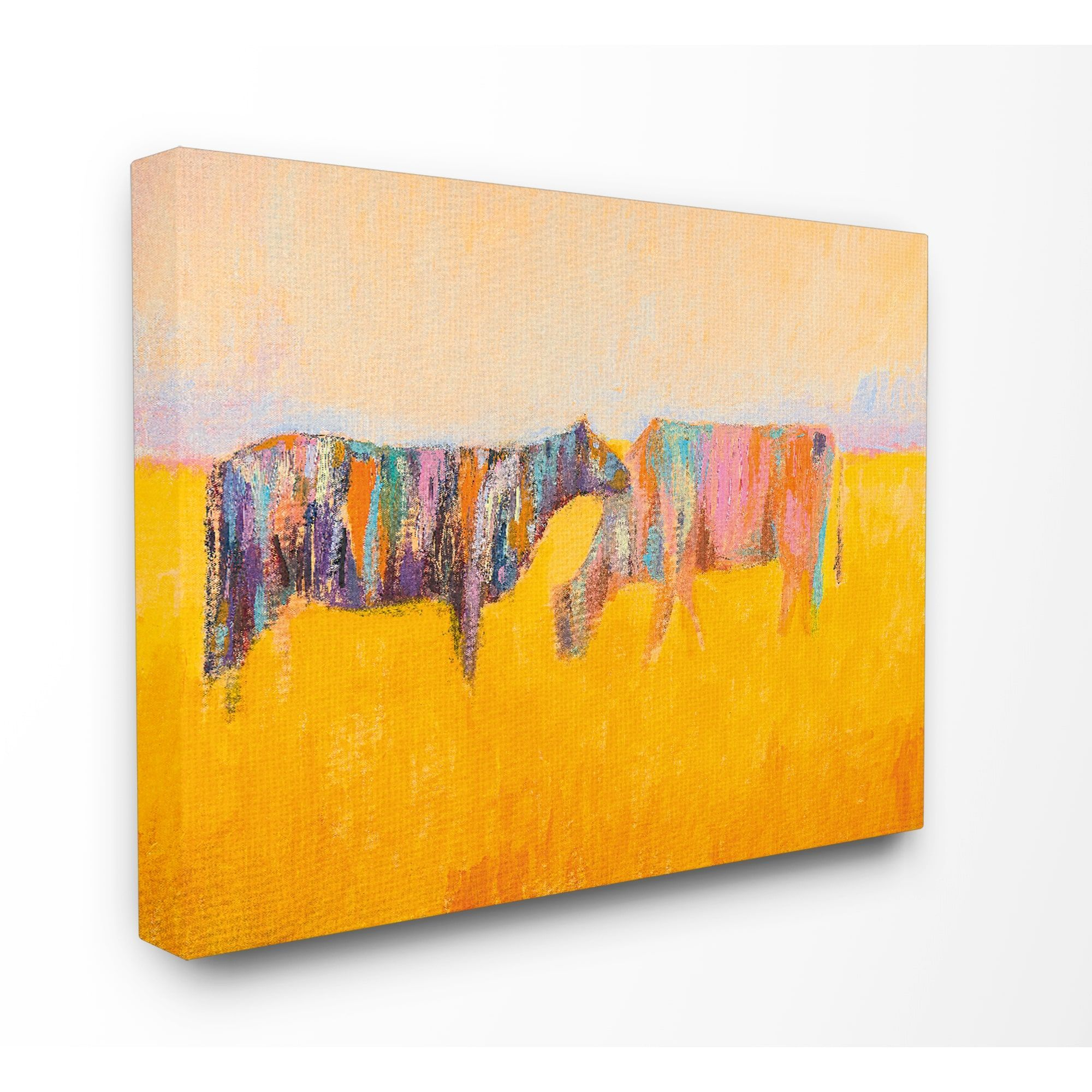 Stupell Abstract Color Grazing Cows Stretched Canvas Wall Art ...