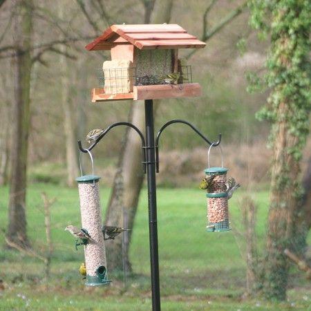 Poteau pour mangeoires oiseaux avec potences feeder pole plus oiseaux du jardin - Mangeoire pour oiseaux du jardin ...