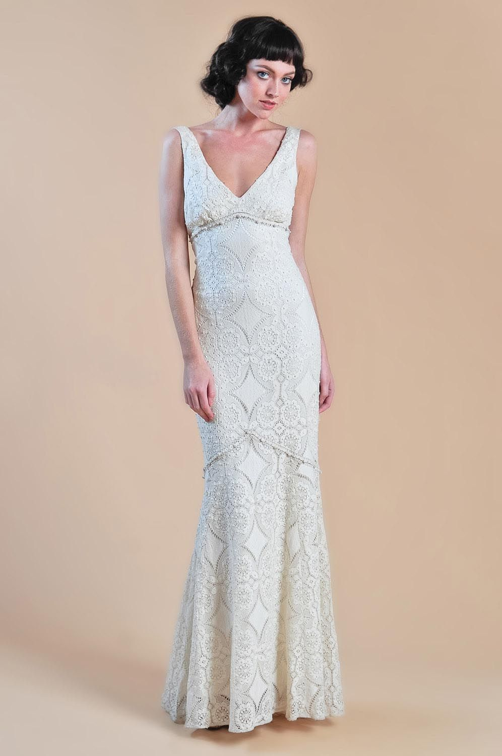 MADELEINE - Ivory cotton lace mermaid gown with grosgrain ...