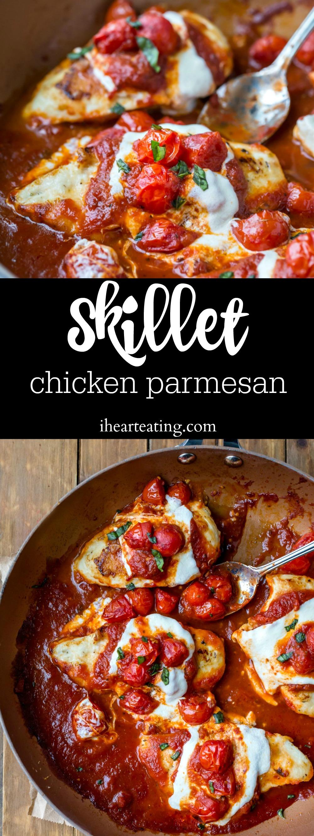 Skillet Chicken Parmesan #chickenparmesan