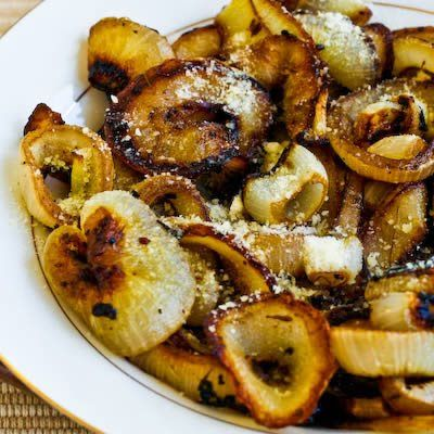 Marinated and Roasted Vidalia Onion Rings with Parmesan  (Makes 3-4 side dish servings, recipe created by Kalyn.)    Ingredients:  4 medium-sized Vidalia onions or other types of sweet onions  2 T balsamic vinegar  1/4 tsp. Spike Seasoning  1/4 tsp. dried thyme  1/4 cup olive oil  1-2 T freshly grated Parmesan cheese  salt and fresh ground black pepper to taste    Instructions:  Peel onions, cut in to slices about 1/2 inch (1.25 cm) thick, and separate into rings. Put onion rings into a…