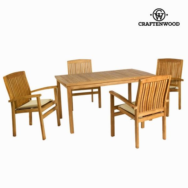 Table Set With 4 Chairs Teak 150 X 90 X 75 Cm By Craftenwood Teak Table Teak Outside Furniture