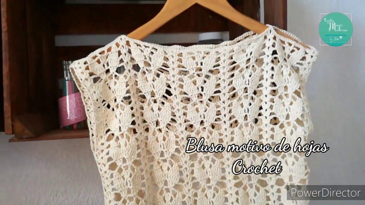 Blusa Motivo De Hojas Tejida A Crochet Paso A Paso Todas Las Tallas Remeras Tejidas A Crochet Croché Vestidos A Crochet Mujer