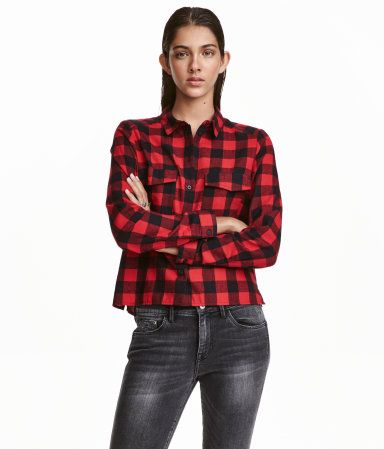 Red Plaid Short Shirt In Soft Patterned Flannel With Long Sleeves