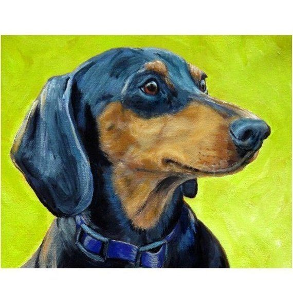 Dachshund Dog Art Print By Dottie Dracos Doxie Profile On Lime