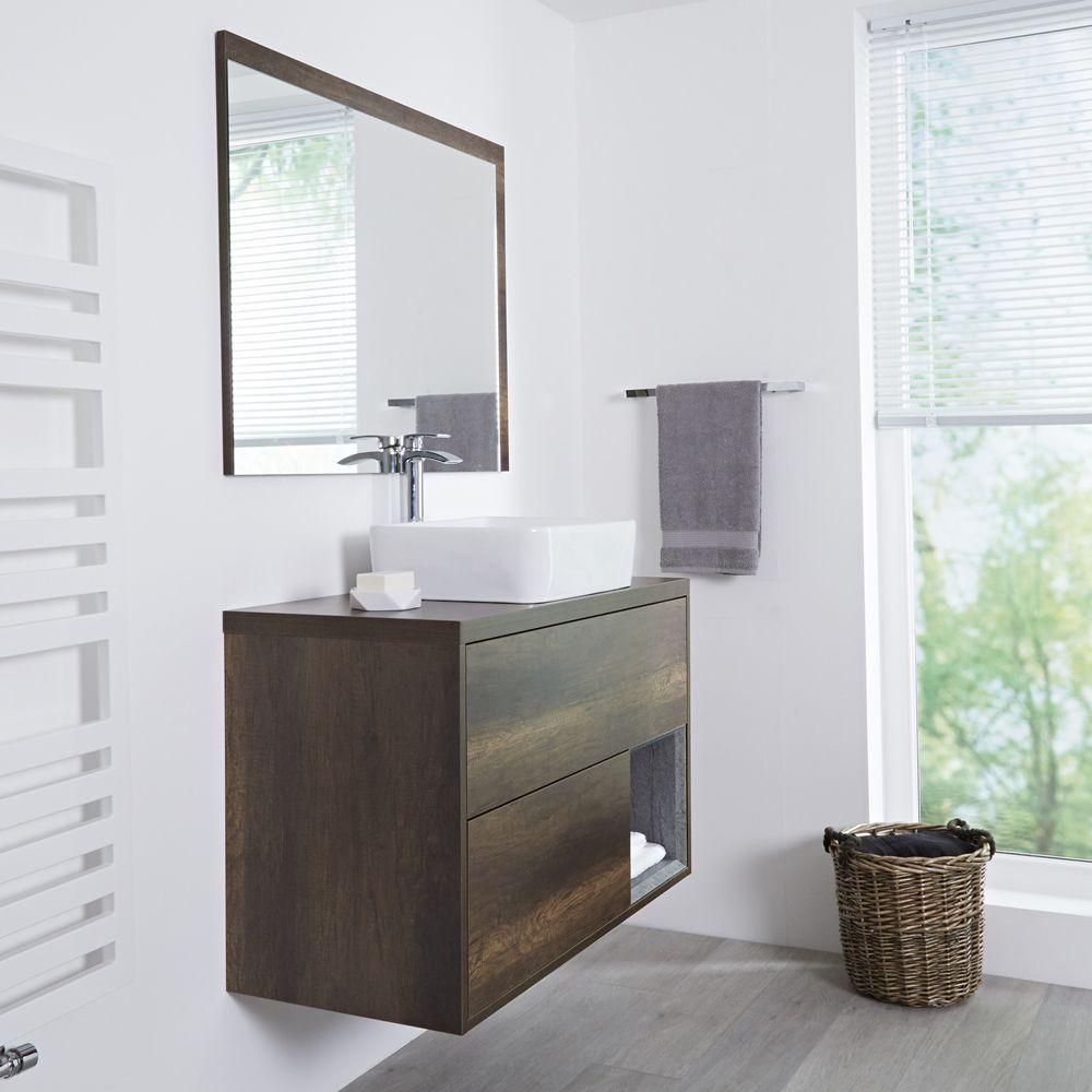 Milano Bexley Dark Oak 1000mm Wall Hung Open Shelf Vanity Unit With Rectangular Countertop Basin Vanity Units Open Shelving Basin