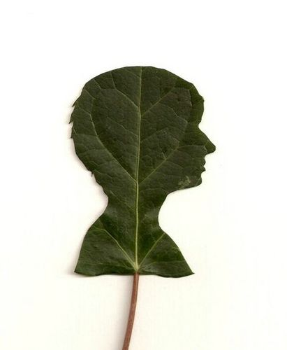 Papercut portrait on leaf