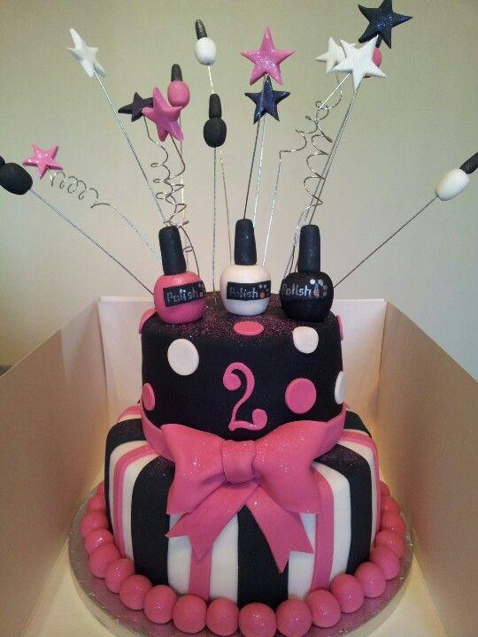 Surprising Nail Polish Pink Black And White Cake Pink Birthday Cakes Funny Birthday Cards Online Inifodamsfinfo