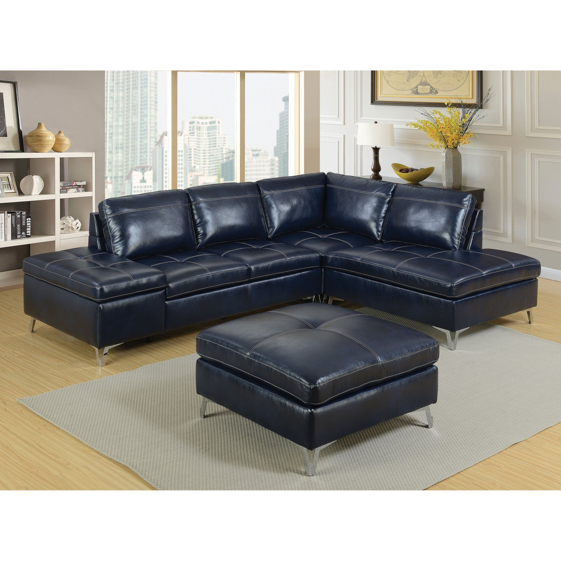 Furniture Of America Brandon Sectional Sofa With Ottoman Idf