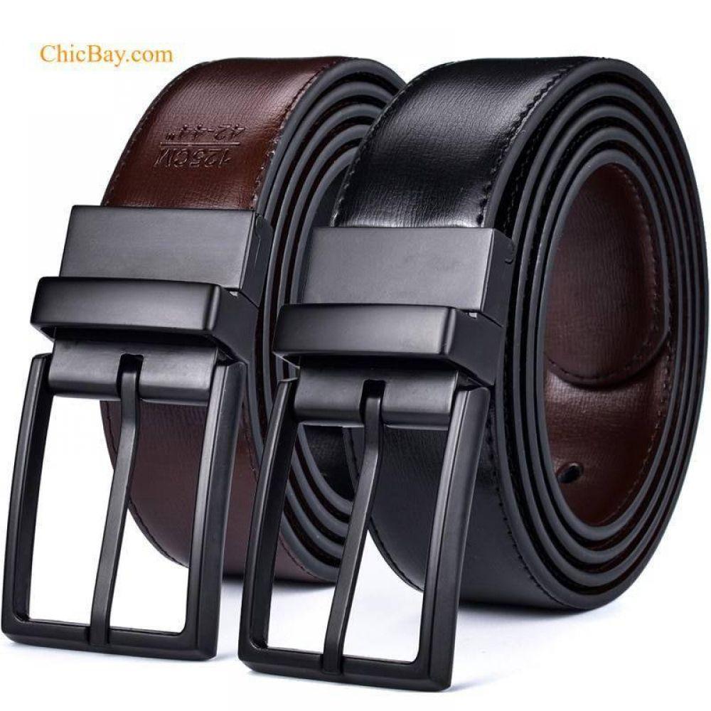 Reversible Leather Belts For Men (Rotating Buckle) Mens