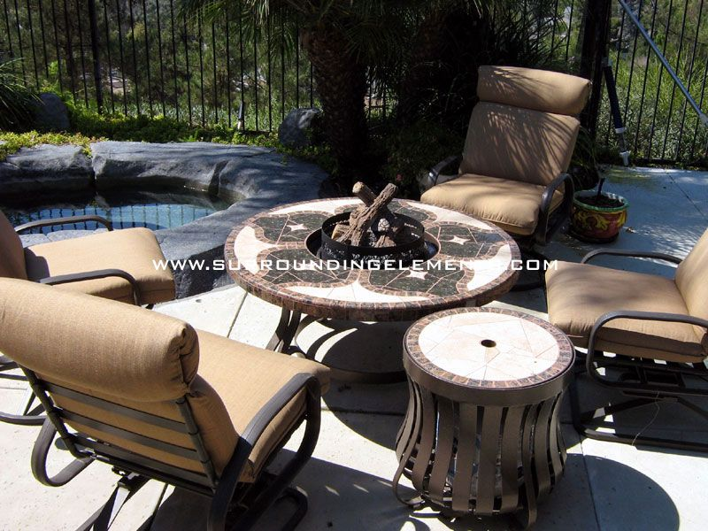 Outdoor Decor · Firepit Mosaic Table, Vineyard Design With Firepit Side  Stand And 4 Chairs Item# PIT1