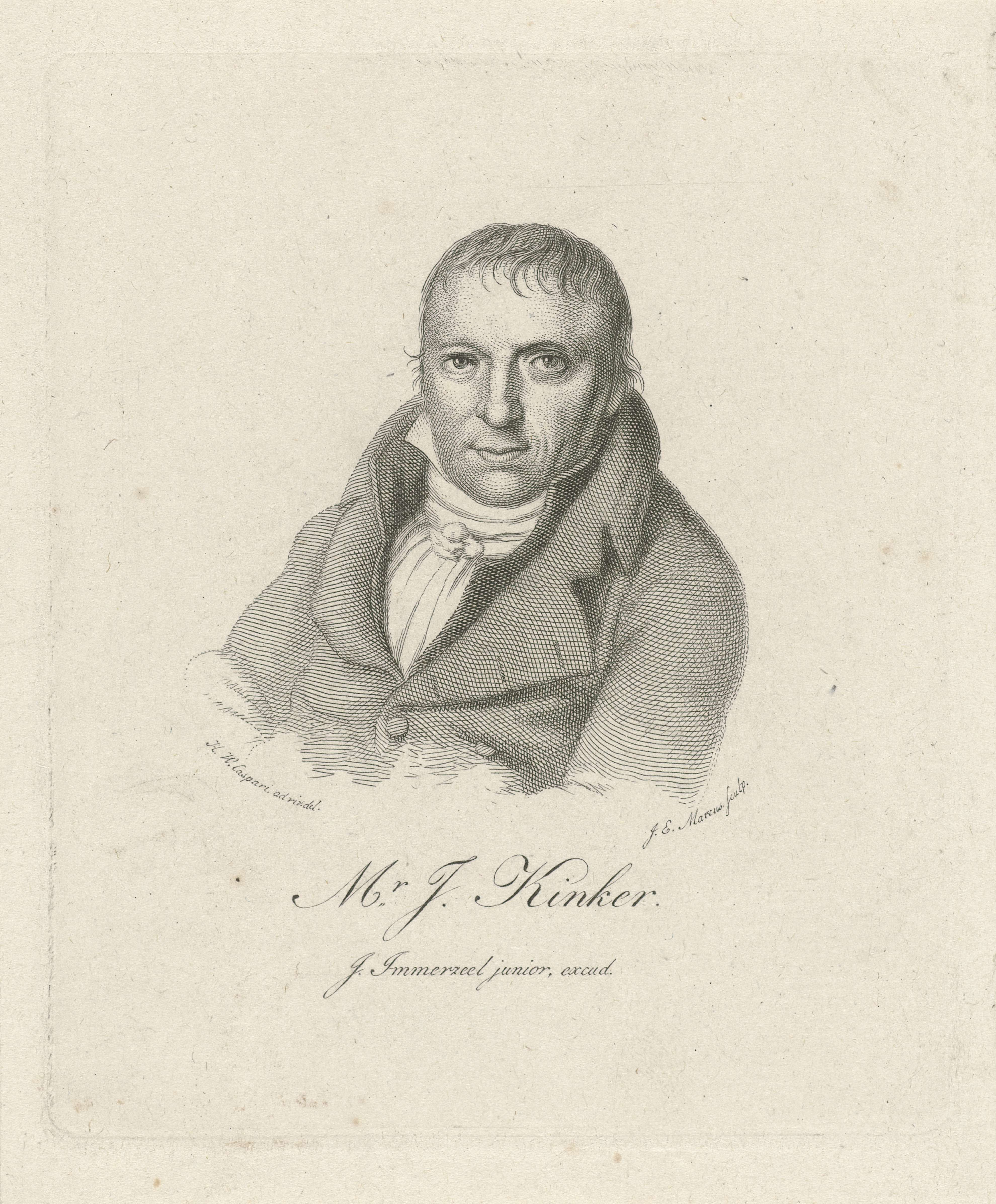 Jacob Ernst Marcus | Portret van Johannes Kinker, Jacob Ernst Marcus, Johannes Immerzeel, 1825 |