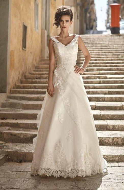amedea - vestito da sposa semplice con scollo a v in organza e pizzo