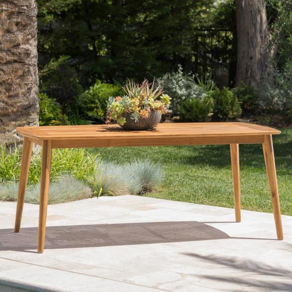 Noble House Teak Rectangular Wood Outdoor Dining Table 10992 The Home Depot In 2020 Outdoor Dining Table Outdoor Dining Noble House