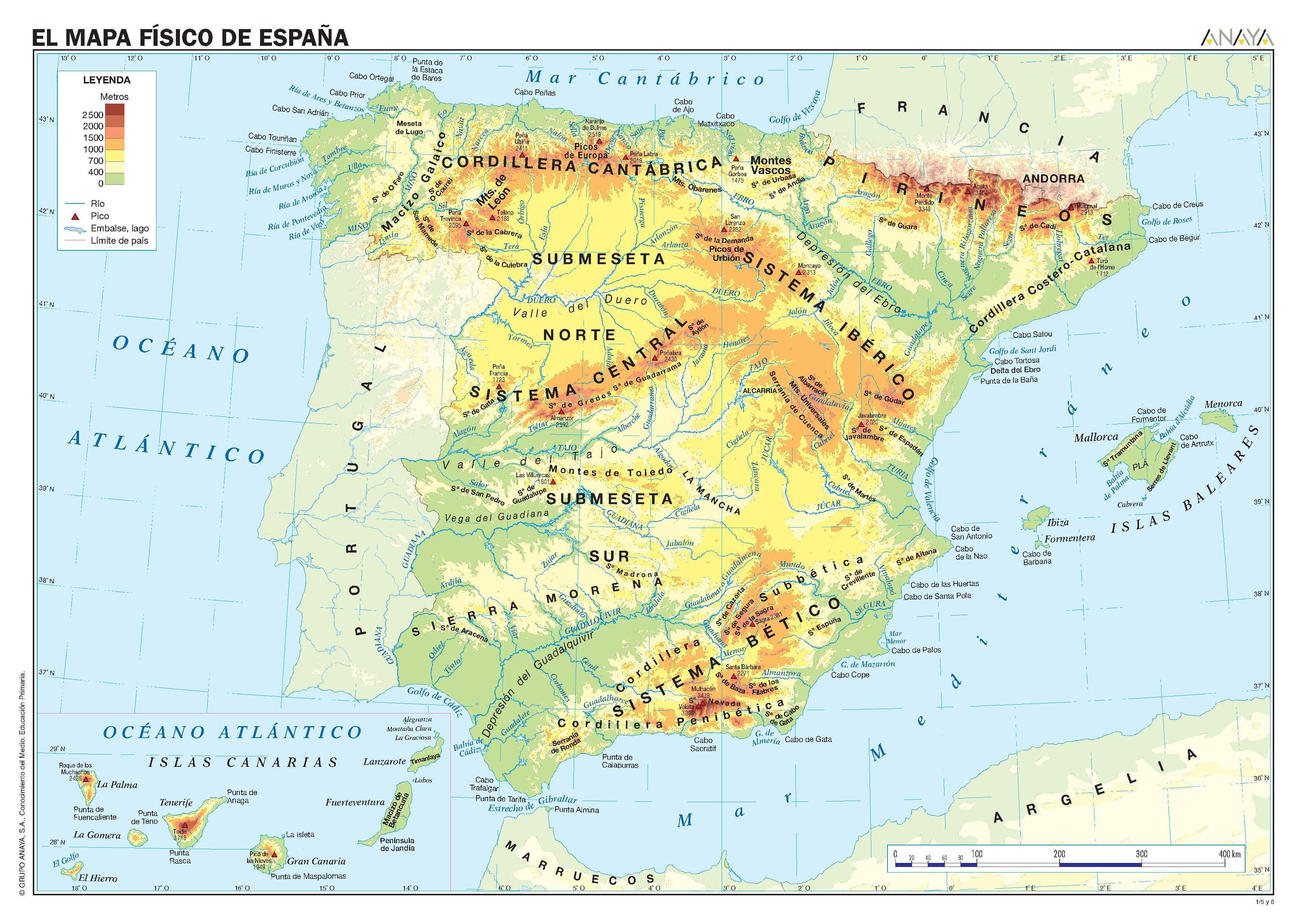 Mapa Rios De España 6 Primaria.Mapas De Espana Fisicos Politicos Y Mudos Mapa Fisico De
