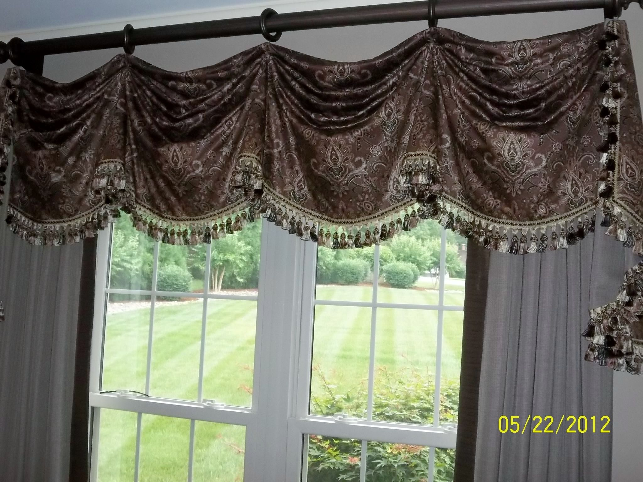 Swag Valance Over Banded Drapery Panels Front Room Custom