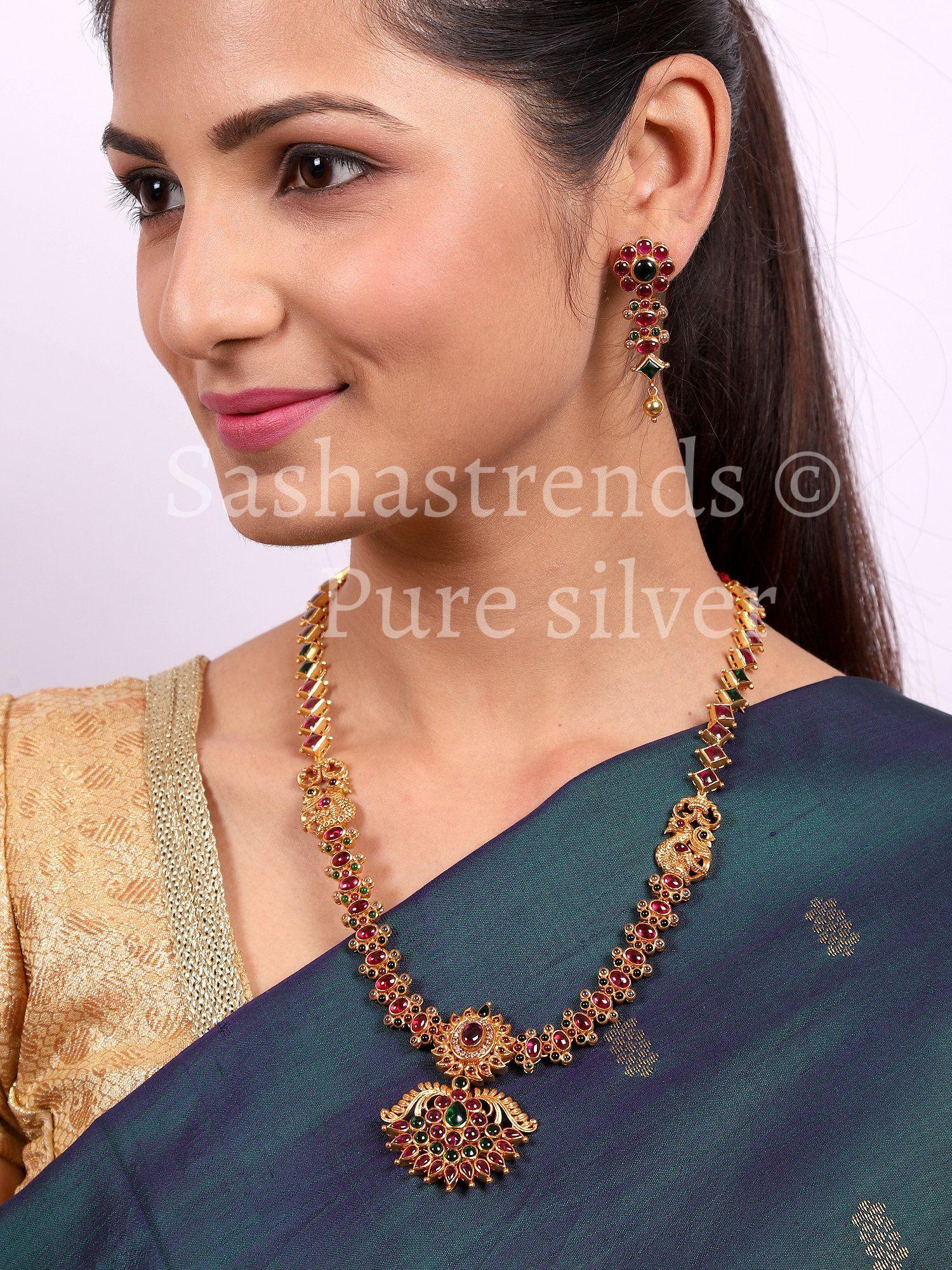 indian traditional jewelry silver kemp stone jewelry temple jewelry Pure silver earrings 925 silver jewelry