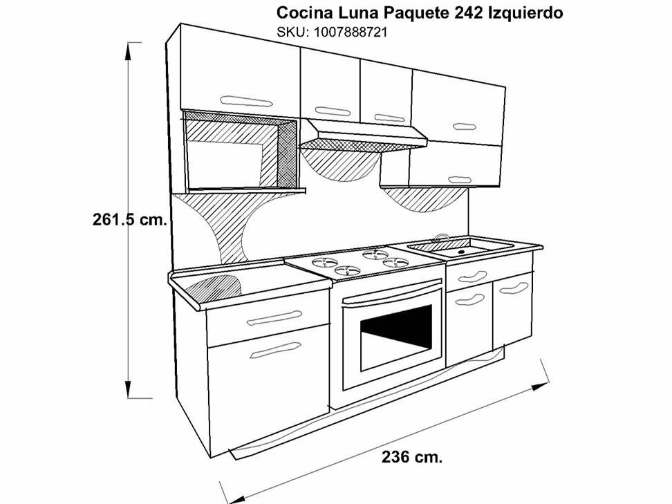 Cocina Integral Ferrati Luna Paquete 242 Izquierda
