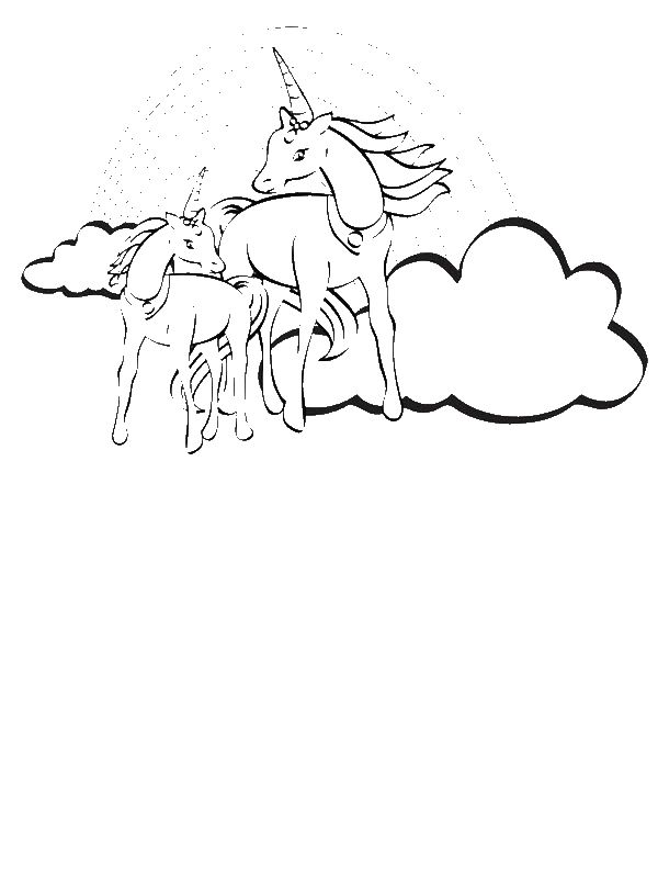 Two Unicorn With A Rainbow At Their Back Coloring Page By 10 Years