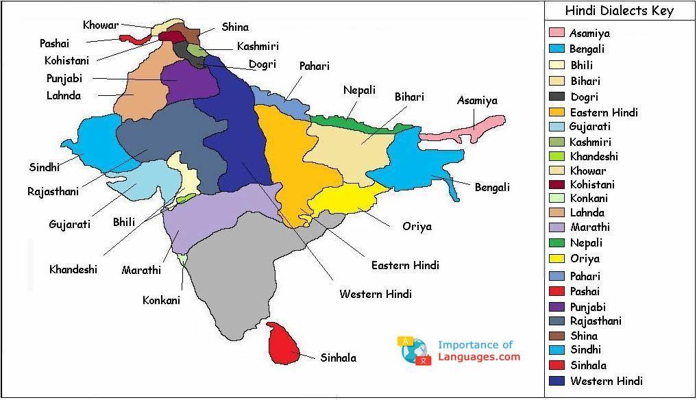 Hindi Dialects Map | Hindi | Learn hindi, Hindi language