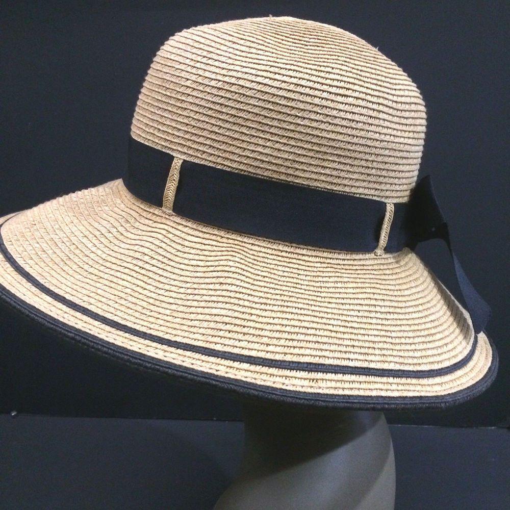 Scala Hat Wide Brim Sun Protect Beach Water Summer Natural Paper Faux Straw   Scala  WideBrim  BeachCruise 270587bce03a