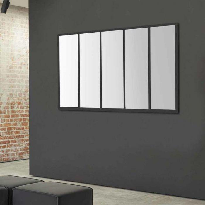 miroir rectangulaire en m u00e9tal noir effet vitre 140x90cm