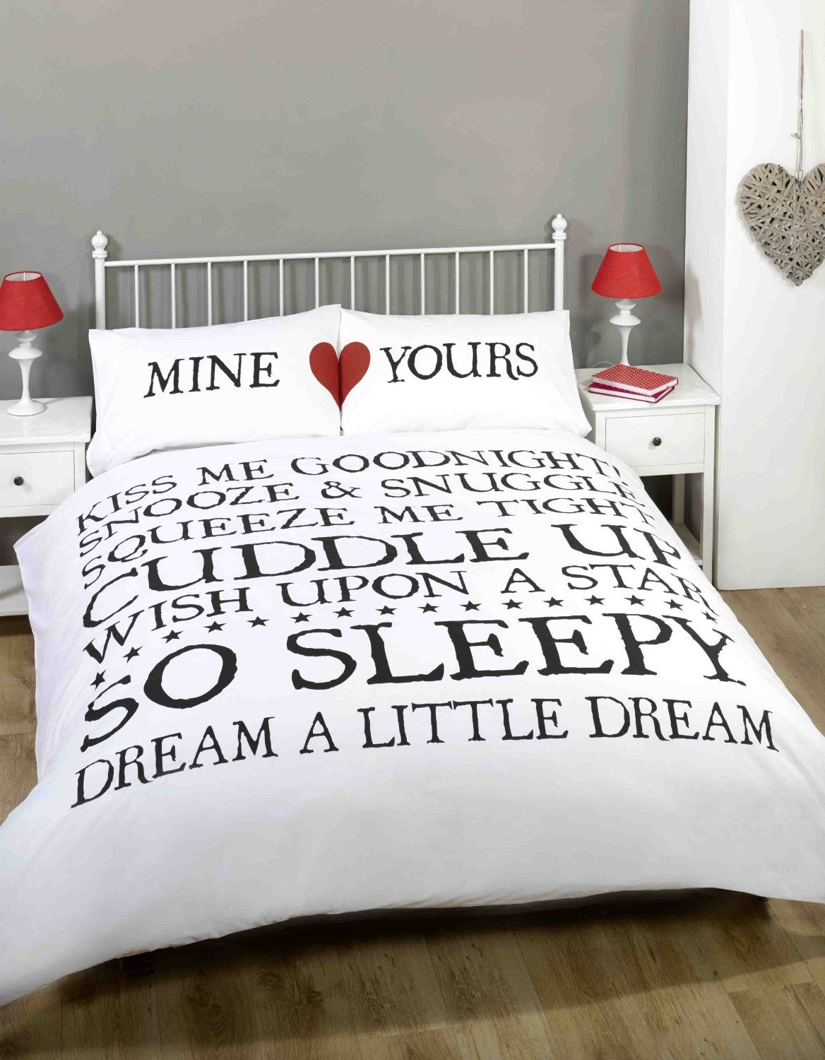 mine & yours white duvet cover quilt bedding set, white black red