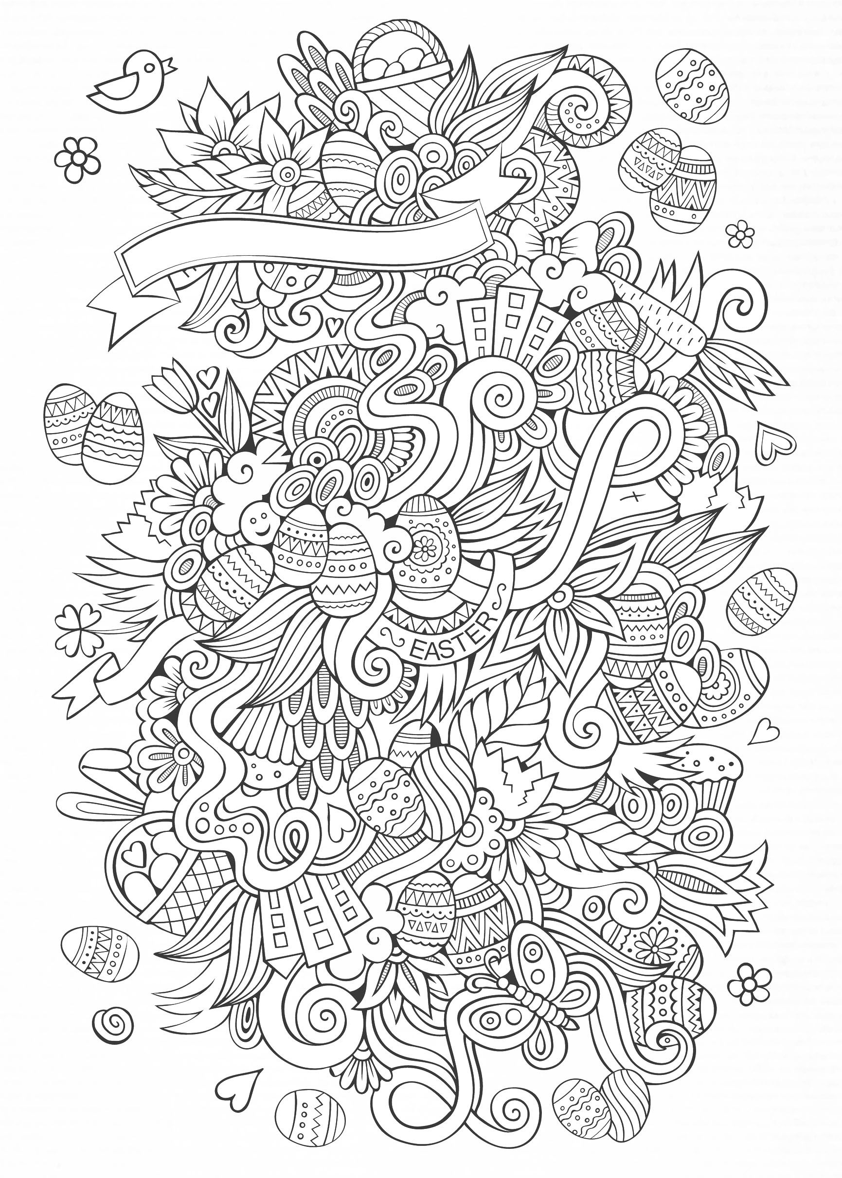 Easter eggs, Easter bunnies, baskets ... In a beautiful doodle ...
