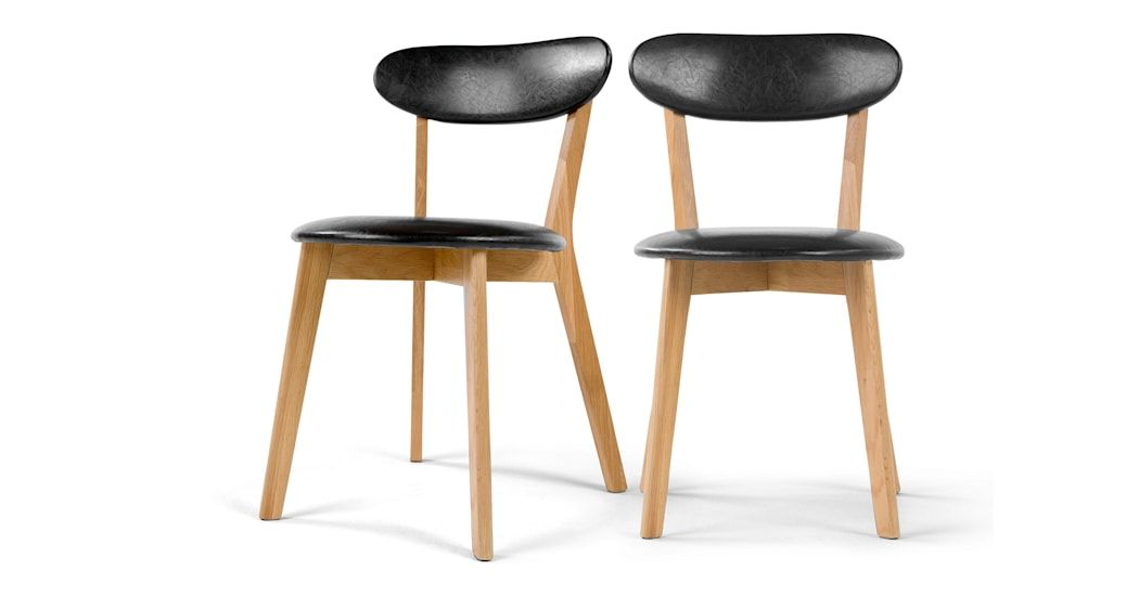 Set Of 2 Fjord Dining Chairs Oak And Black Pu Dining Chairs Folding Lounge Chair Chair