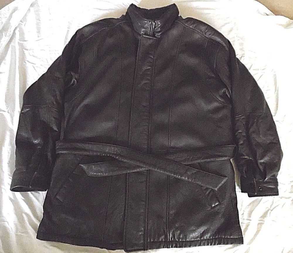 Pelle Studio Men's XL Black Leather Bltd Coat Wilsons